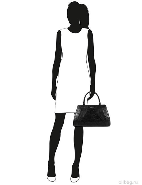 Женская сумка 1272-4 экокожа змея черная на манекене
