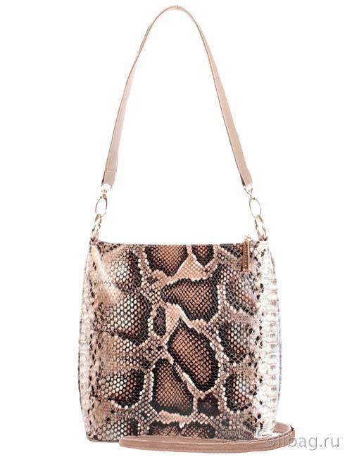 Женская сумка 1284-030 змея темно-бежевая