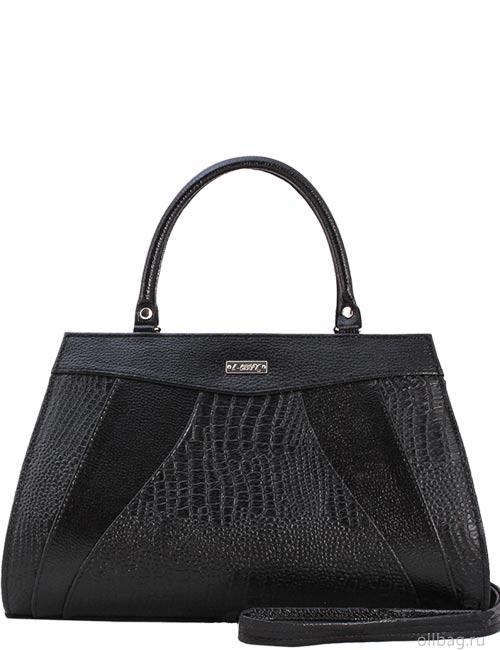 Женская сумка 1272-1 экокожа крокодил черная