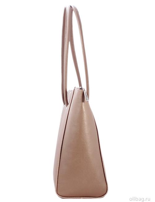 Женская сумка 1256-1 темно-бежевая сбоку