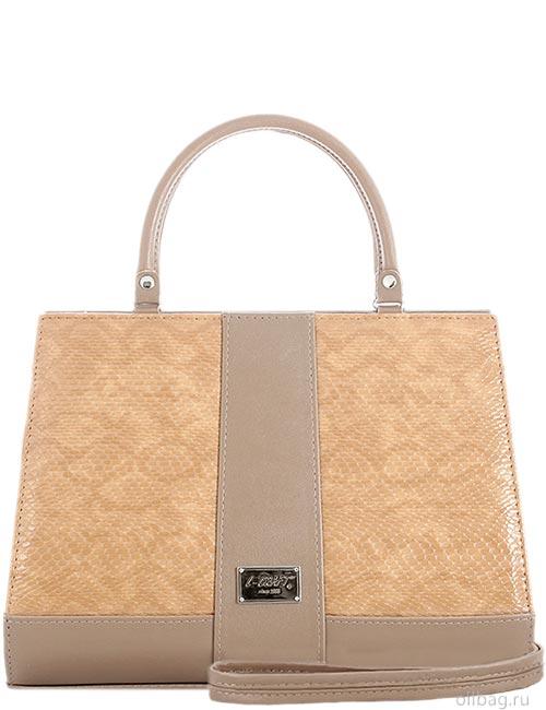 Женская сумка 1269-1 змея темно-бежевая