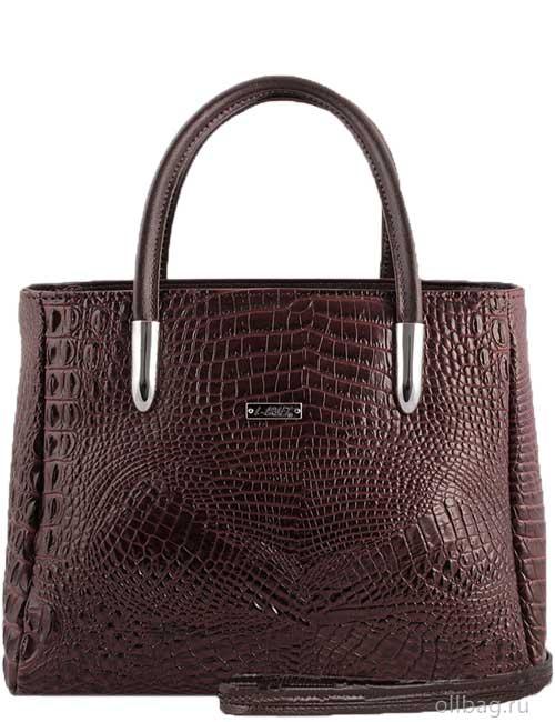 Женская сумка 901-3 экокожа крокодил темно-коричневая