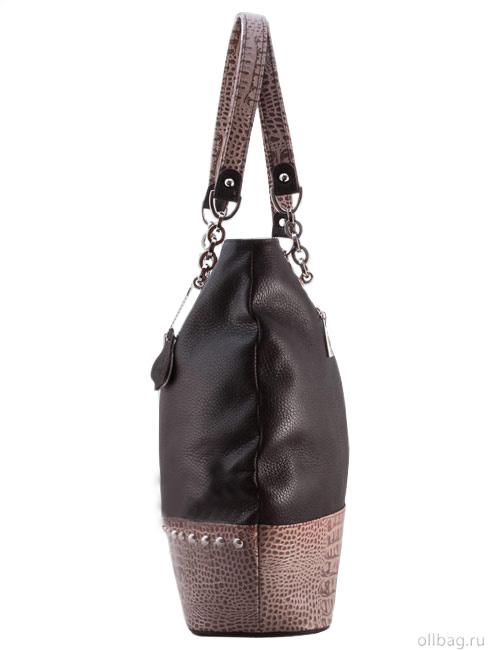 Женская сумка L46-2 темно-коричневая сбоку