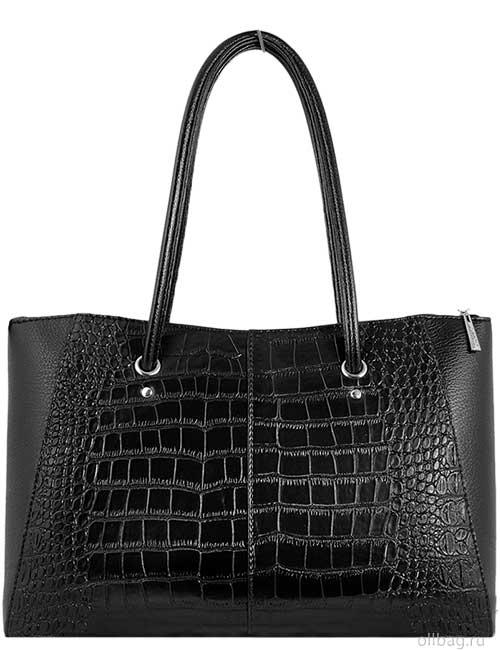 Женская сумка 1256-3 экокожа крокодил черная