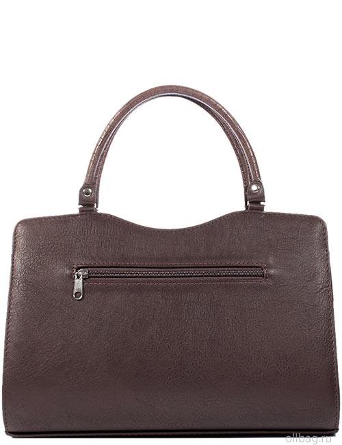 Женская сумка 1264-2 экокожа крокодил коричневая сзади