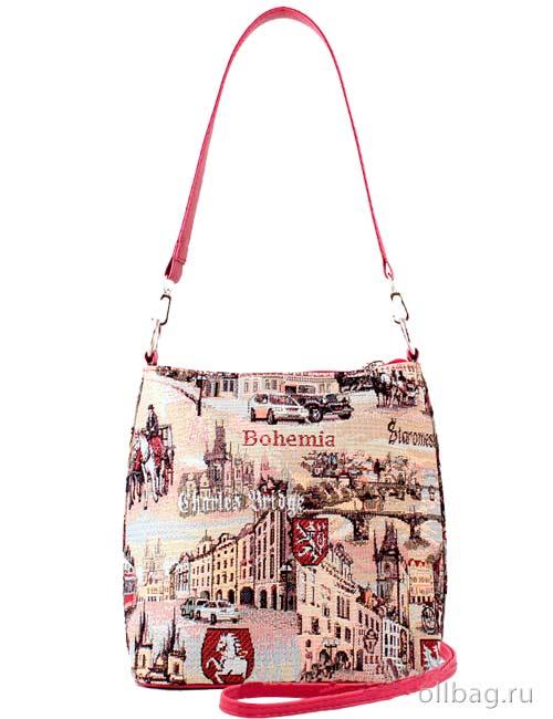 Женская сумка 1284-8 гобелен темно-бежевый