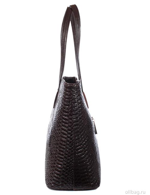 Женская сумка 1297-5 экокожа змея темно-коричневая сбоку