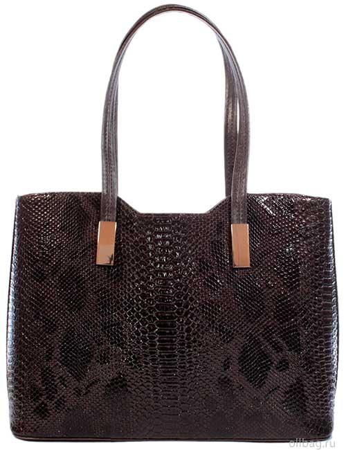 Женская сумка 1297-5 экокожа змея темно-коричневая