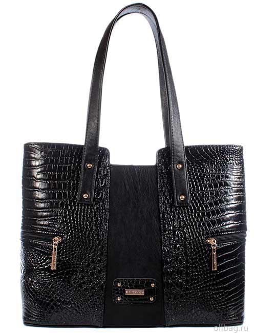 Женская сумка 1317-2 экокожа крокодил черная