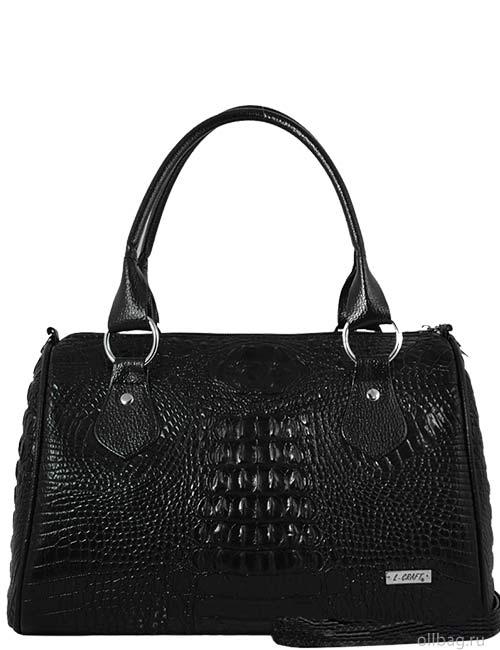 Женская сумка 857-2 экокожа крокодил черная