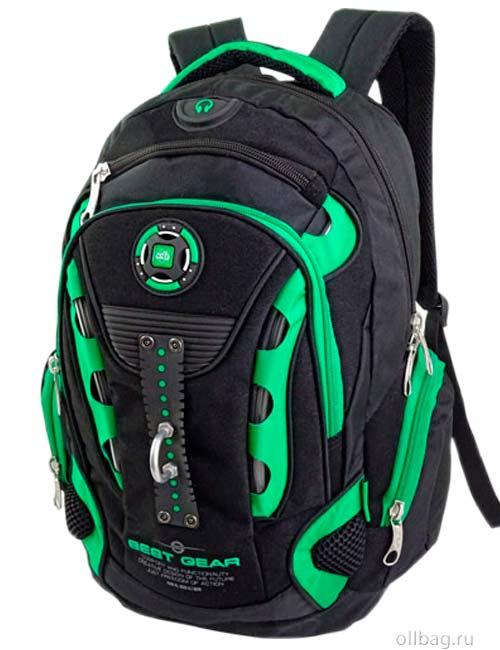 Рюкзак W16013 черно-зеленый