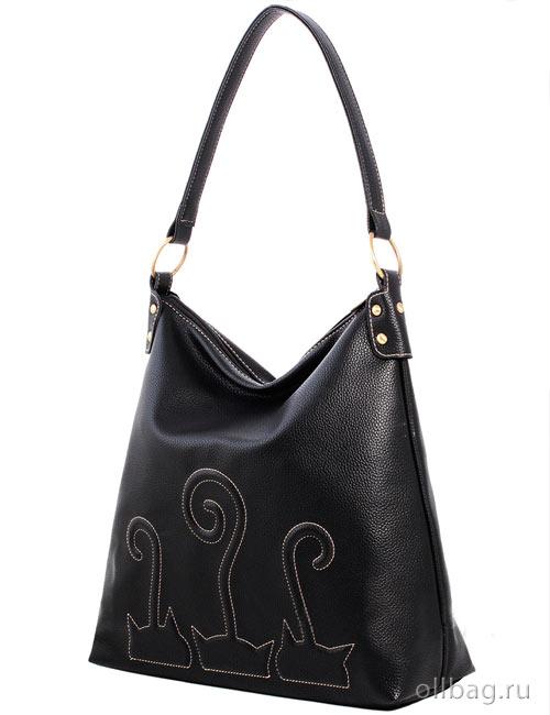 Женская сумка экокожа гладкая вышивка кошки 1201-009 черная-