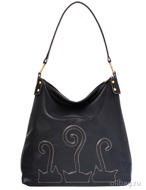 Женская сумка экокожа гладкая вышивка кошки 1201-009 черная