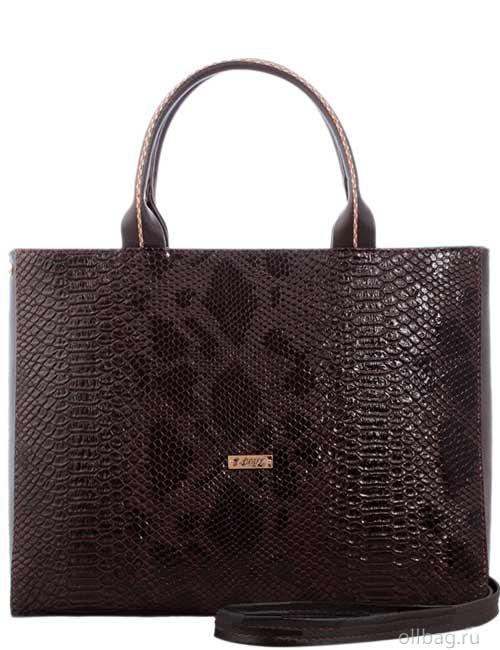 Женская сумка 1286-5 экокожа змея темно-коричневая