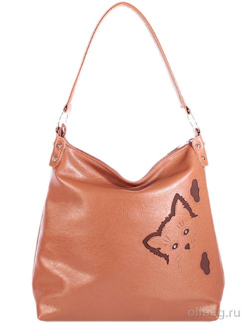 Женская сумка экокожа гладкая аппликация котенок 1201-005 рыжая