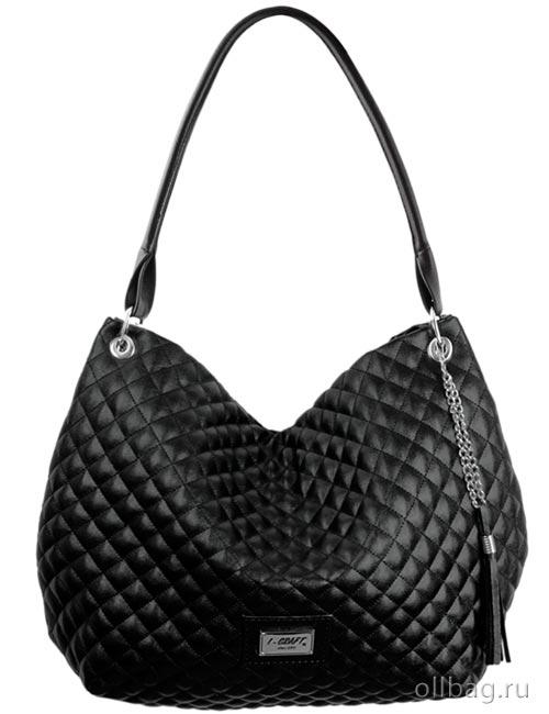 Женская сумка экокожа стеганая с кисточкой 1172-040 черная