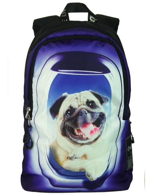 Рюкзак молодежный 8930 мопс в иллюминаторе спереди