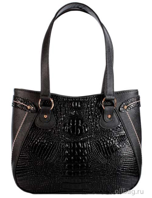 Женская сумка 1304-2 экокожа крокодил черная