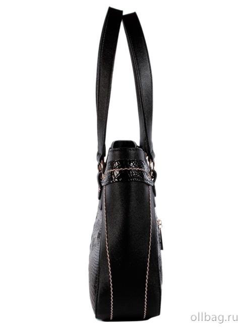Женская сумка 1304-2 экокожа крокодил черная сбоку