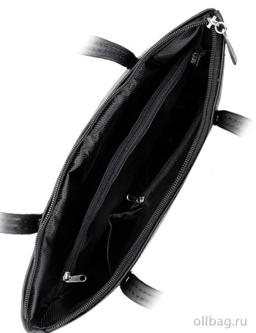 Женская сумка экокожа крокодил 1142-020 черная внутри