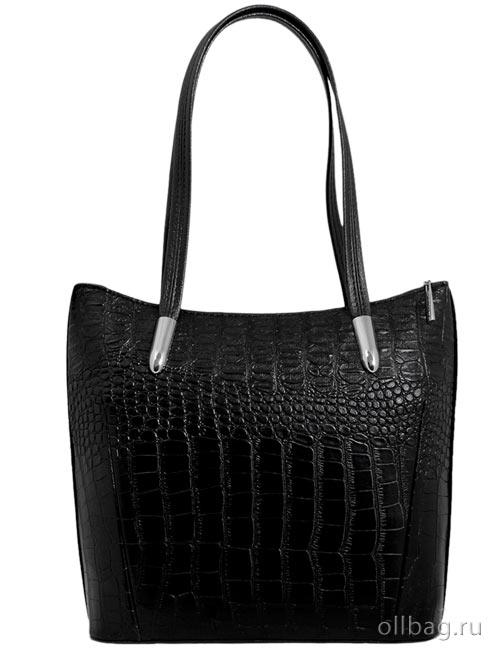 Женская сумка 1142-020 черная экокожа крокодил