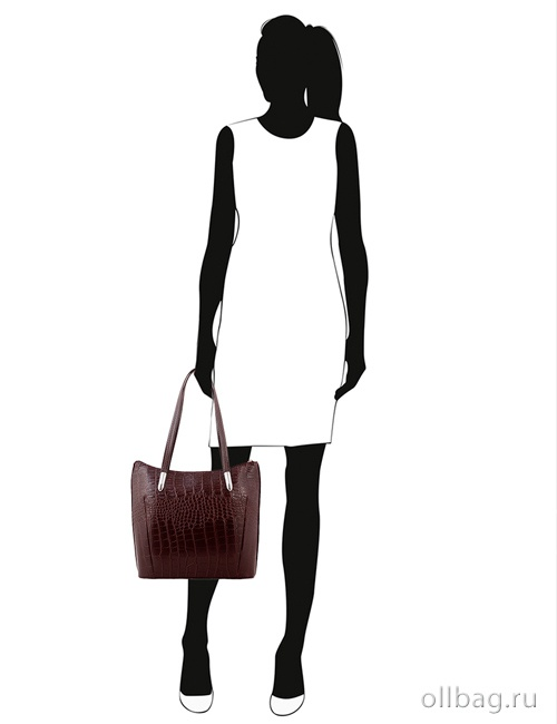e444a33b4e82 ... Женская сумка экокожа крокодил 1142-020 темно-коричневая на манекене ...