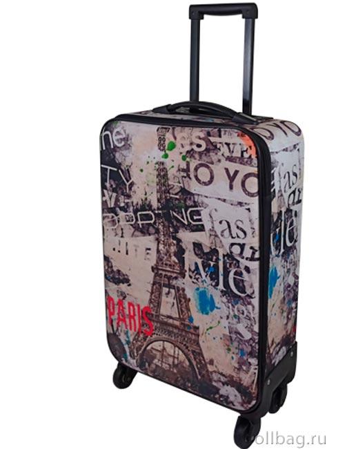 Чемодан тканевый на колесах малый Париж 1622-20