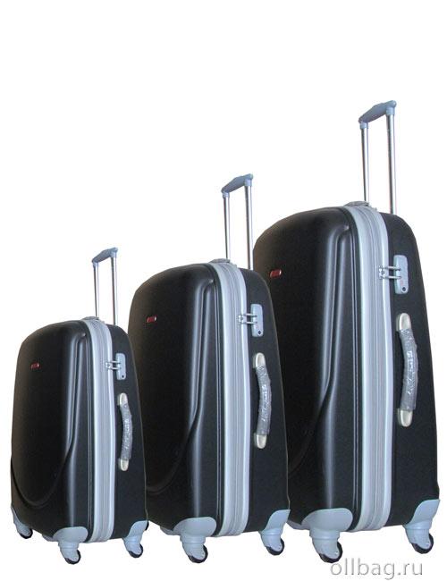 Комплект пластиковых ударопрочных чемоданов на колесах zt-91 сбоку