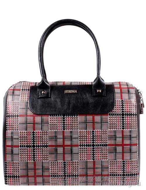 Женская сумка экокожа клетка 1051-083 бордовая