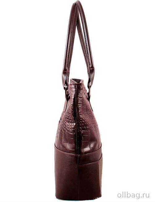 Женская сумка экокожа крокодил 1135-020 темно-коричневая сбоку