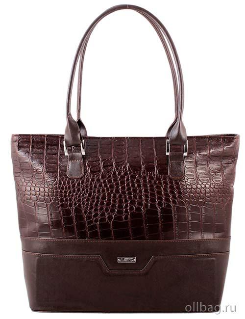 Женская сумка экокожа крокодил 1135-020 темно-коричневая