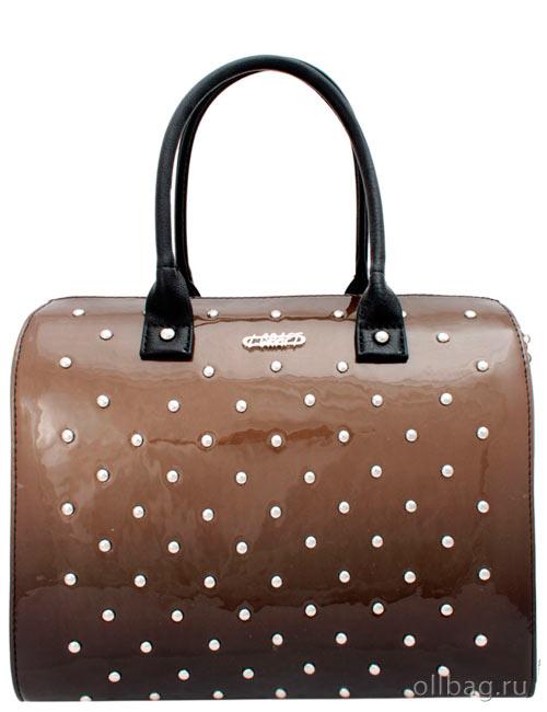 Женская сумка 1051-2 лак заклепки коричневая