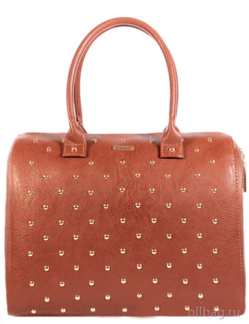 Женская сумка экокожа гладкая заклепки 1051-004 рыжая