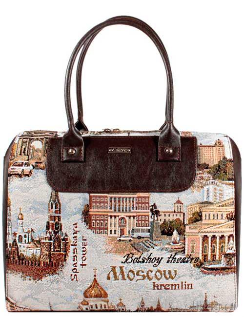 Женская сумка экокожа гобелен Москва 1051-096 темно-коричневая