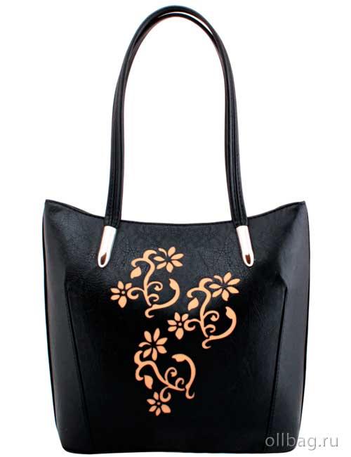 Женская сумка экокожа графика цветы 1142-063 черная