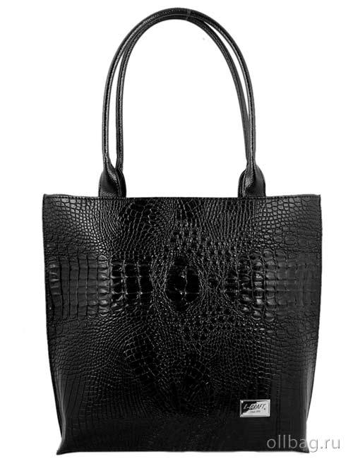 Женская сумка экокожа крокодил 1197-020 черная