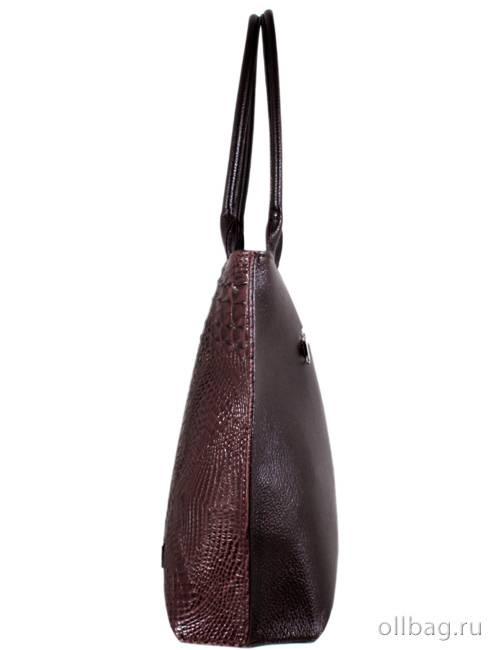 Женская сумка экокожа крокодил 1197-020 темно-коричневая сбоку