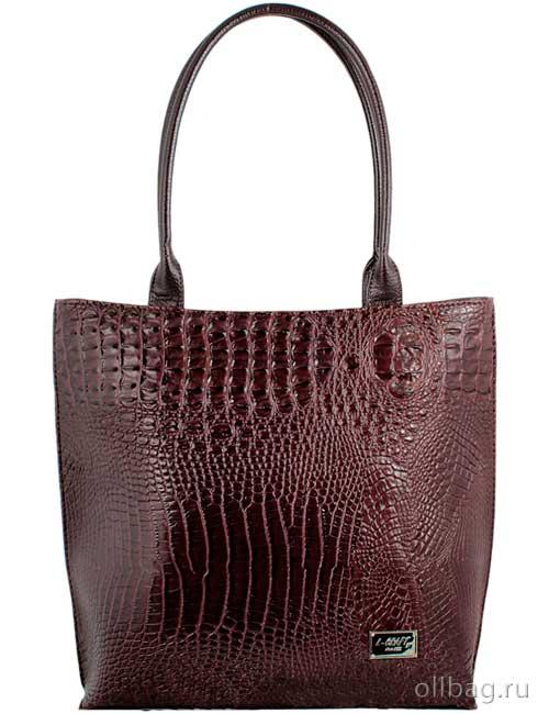 Женская сумка экокожа крокодил 1197-020 темно-коричневая