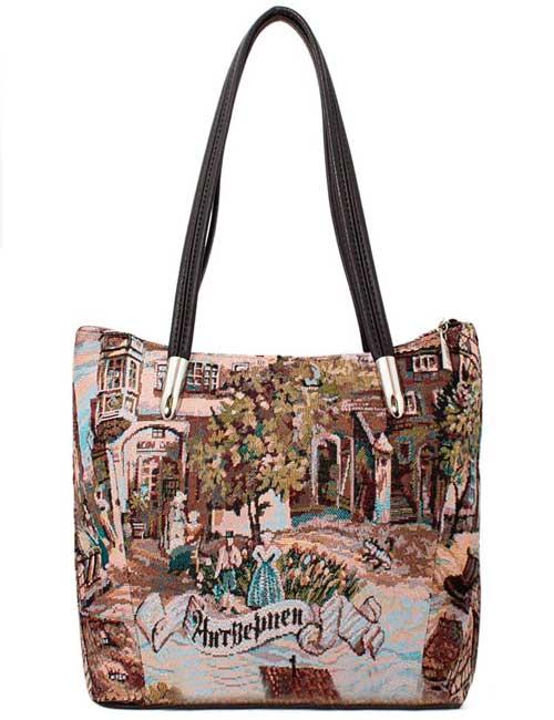 87bbfef041a1 Женская сумка гобелен Антверпен 1142-095 мягкая среднего размера с ...