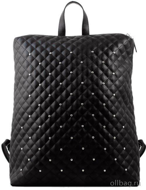 Женский рюкзак экокожа стеганый заклепки 1307-044 черный
