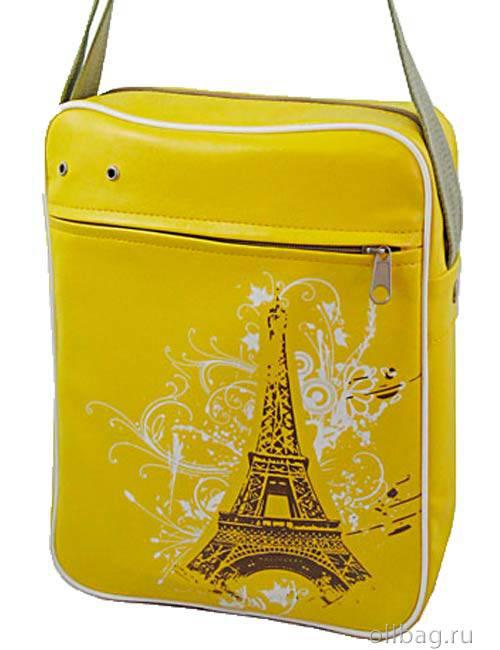 Сумка молодежная экокожа принт Париж 704-1 красная желтая