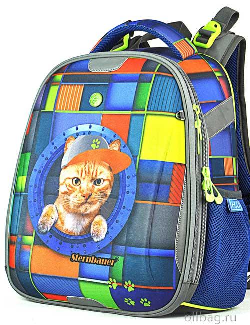 Ранец школьный ортопедический 9103 кот в кепке