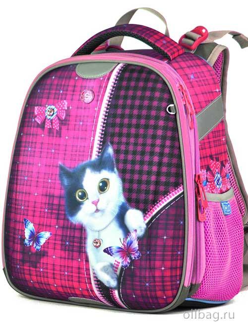 Ранец школьный ортопедический 9106 фиолетовый с котенком