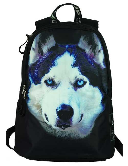Рюкзак молодежный 8956 собака хаски спереди