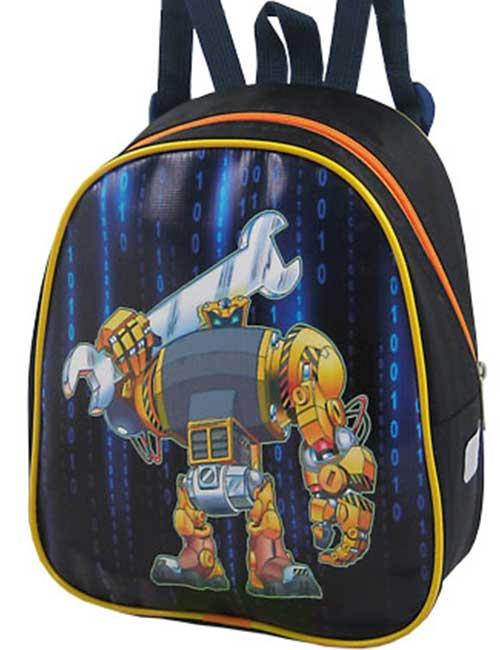 Рюкзак 888-30 детский для мальчика черный робот