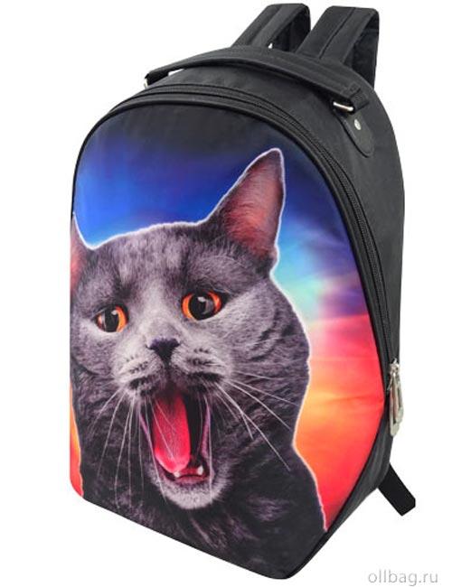Рюкзак женский 2083-003 принт серый кот