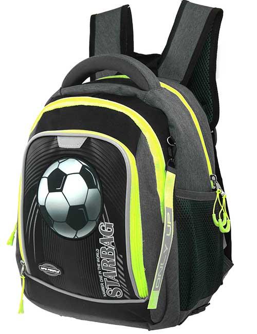 Рюкзак 20201 школьный для мальчика на 1-4 класс темно-серый с футбольным мячом