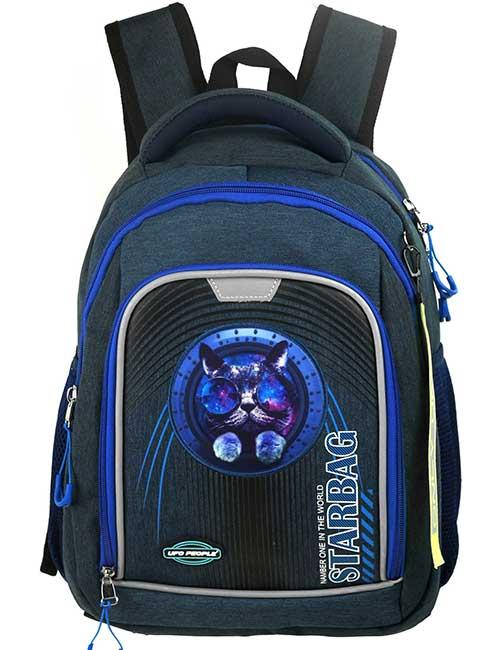 Рюкзак 20202 школьный для мальчика на 1-4 класс темно-синий с космическим котом