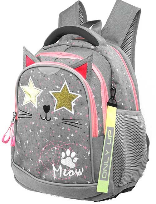 Рюкзак 20203 школьный для девочки на 1-4 класс серый с котиком и звездочками