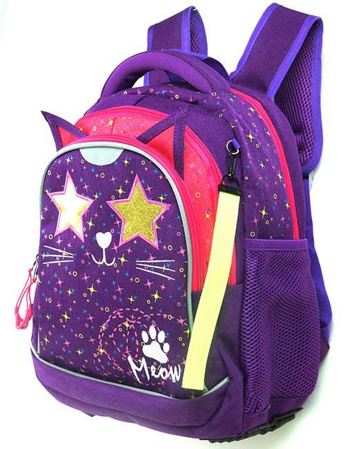 Рюкзак 20204 школьный для девочки на 1-4 класс фиолетовый с котиком и звездочками